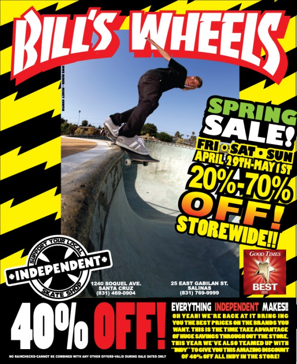 Bill's Spring Sale 20-70% Off Storewide Fri April 29-May 1st