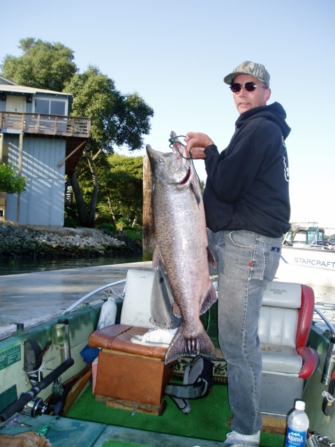 Bill's Birthday Fish. 30 lb salmon from Sacramento River. October 2005. Fishing with dad and brother Ed.